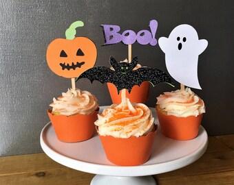 12 halloween cupcake toppers halloween food picks halloween cake topper bat cupcake topper