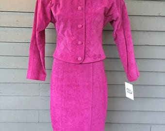 90's Hot Pink Suede Leather Skirt Suit | 1980s-1990s Embroidered Blazer | Padded Big Shoulders