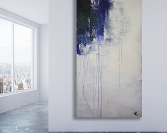 Large Blue, Grey and White Abstract Painting / Texture Painting / Modern Art / Acrylic Painting / Original Art / XL Art