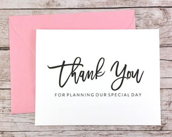 Thank You For Planning Our Special Day Card, Wedding Planner Thank You Card, Wedding Vendor Thank You - (FPS0017)