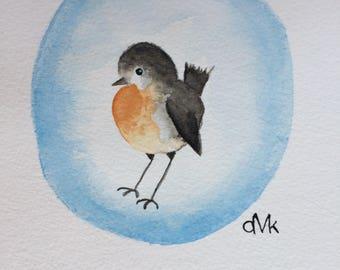 ROBIN handmade original watercolour painting