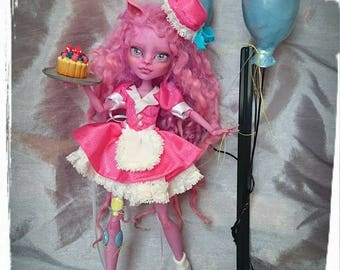 RESERVED for Laura** 4th Payment for Pinkie  - My Little Pony MLP Inspired Pinkie Pie OOAK Doll (Kjersti Trollson Monster High Repaint )