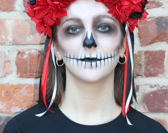 Stunning and Unique Red and Black Day of the Dead headdress with Skull and Ribbons