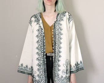 Vintage 70s White Jacket with Black Embroidery - Small