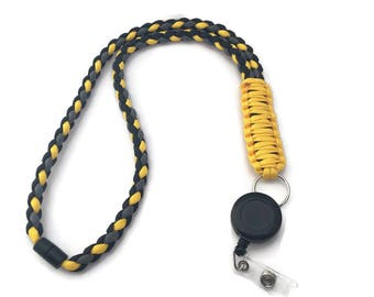 Paracord lanyard black, Stocking stuffer for boyfriend, Groomsman gift, lanyard with id holder, brother gift, college student gift, office