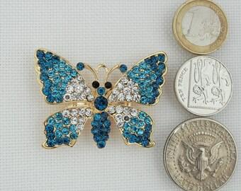 Blue Rhinestone Butterfly Needleminder / Sparkly Butterfly Needle Minder