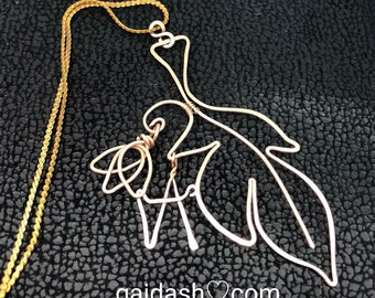Archangel Gabriel -Sacred / Angel Feather Symbol.The messenger of Spirit Bronze Necklace.Hand Hammered Wire Weaved bare bronze  pendant gift
