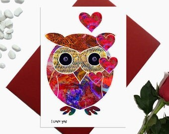 Owl Valentine card - Cute Owl - Owl with hearts I love you - boyfriend card - girlfriend card - engagement card - heart card - A6