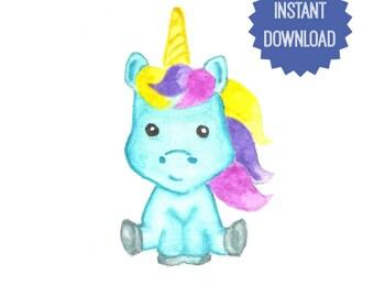 Printable Unicorn Watercolor Print Unicorn Art Print Digital Unicorn Wall Art Children's Kids Room Decor