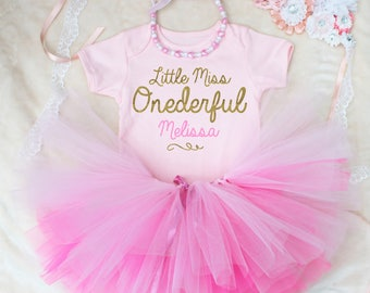 Little Miss Onederful Personalised Baby Girls Outfit Set Pink Gold Print Vest Bodysuit & Necklace