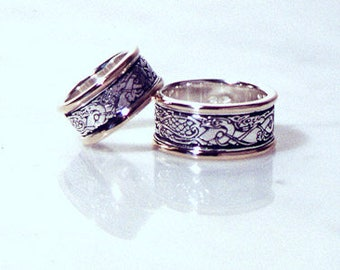 Celtic Birds and Dogs sterling SILVER with 14k GOLD borders, Celtic ring, Celtic band