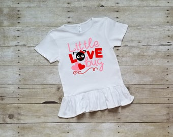 Little Love Bug, Valentines Day Ruffle Shirt, Valentines Day Shirt for Girls