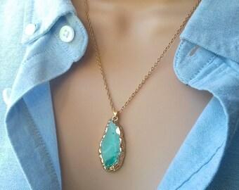 Agate Slice Necklace | Blue Agate Slice | blue agate necklace | boho necklace | agate pendant | blue necklace | gemstone necklace | stone