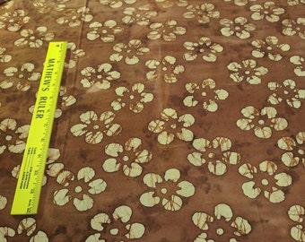 Beige Flowers on Brown Batik Cotton Fabric