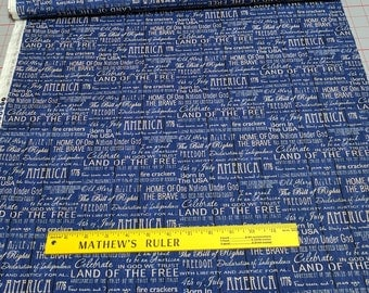 American Pride-Words on Blue Cotton Fabric from Fabri-Quilt