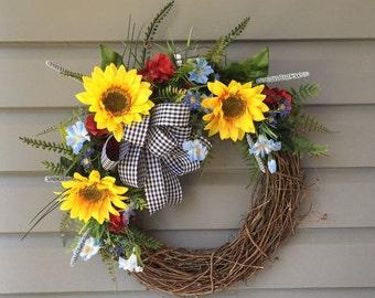 Spring Wreath, Summer Wreath, Sunflower Wreath, All Season Wreath, Sunflower Front Door Wreath, Country Wreath, Farmhouse Wreath