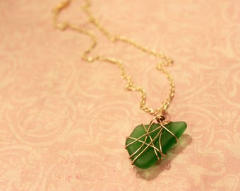 Emerald Green Sea Glass Necklace