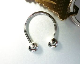 Sterling Silver Simmons Key Ring Keychain with Balls