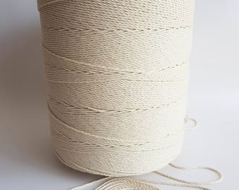 """6 kg 1/8"""" cotton rope. 3mm Twisted cotton rope. Macrame rope. Macrame cord. 2200m cotton cord 3 strand macrame rope. Cotton string"""