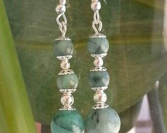 Emerald and 925 Silver - dangle earrings.