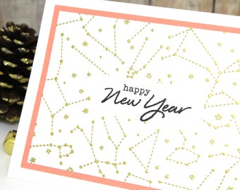 New Year Card - Handmade Happy New Year Card - Hand Stamped New Year's Cards - Heat Embossed New Year Cards with Constellations - 2018 Cards