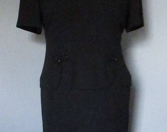 80s Black Peplum Dress