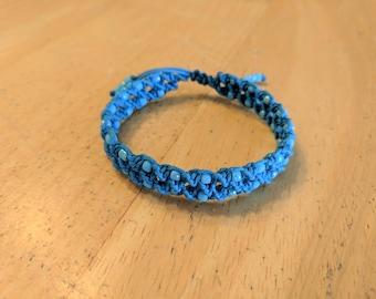 Blue Spiral Bracelet, Blue Hemp Bracelet, Adjustable Bracelet, Double Spiral, Macrame Bracelet, Blue Hemp Jewelry, Hemp Bracelet, Blue Hemp
