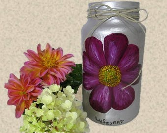 Pink Cosmos Flower Glass Vase