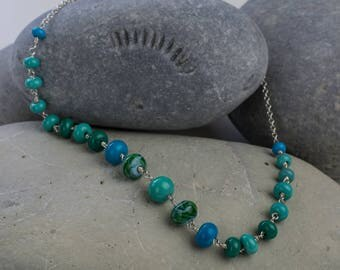 Handcrafted sea colours lampwork bead necklace on sterling silver chain NY306