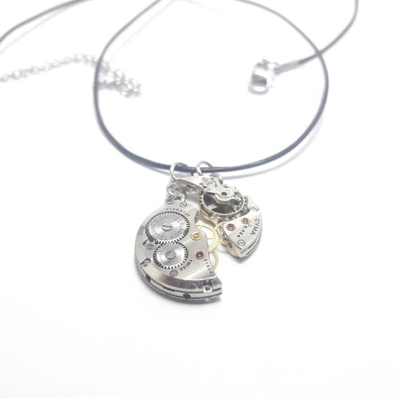 """Toi et moi"" necklace in leather with antique watch mechanism"