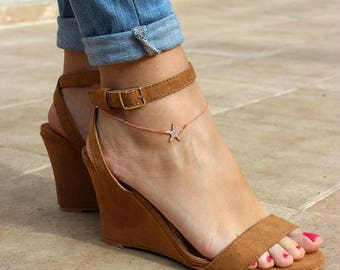 Starfish anklet, Starfish rose gold anklet, Ankle bracelet, Rose gold anklet, Dainty anklet, Anklet jewelry, Foot jewelry