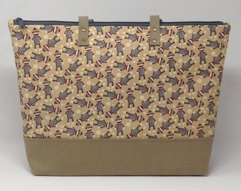 Sock Monkey Diaper Bag, Diaper Bag, Baby Shower Gift, New Baby Gift, Sock Mokey, Nappy Bag, Tote Bag, Mommy Bag, Baby Bag, Shoulder Bag