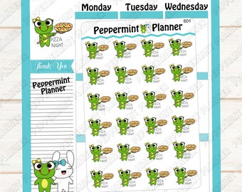 Lillypad Pizza Night --- Hand Drawn Character Stickers --- Planner Stickers --- 601