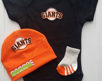 san francisco giants boy outfit with hat-sf giants romper/sf giants bodysuit-baby boy sf giants outfit-san francisco giants gift for baby