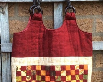 Handmade Bag Tote.Handmade Quilted Tote Bag. Autumn Colours.Unique.Patchwork Bag.Shoulder Bag.