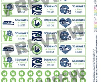 Seattle Seahawks 2017-2018 Season Schedule Stickers for Create 365 Big Happy Planner by MAMBI { INSTANT DOWNLOAD}