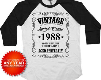 30th Birthday Shirt Bday Present Custom T Shirt Personalized TShirt Bday Gift Ideas Vintage 1988 Birthday Aged Perfectly Baseball Tee -BG378
