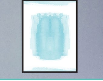 Teal Abstract Poster, Teal Wall Art Poster, Living Room Prints, Teal  Watercolor Wall
