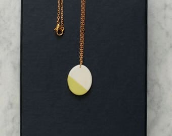 oval porcelain geometric necklace