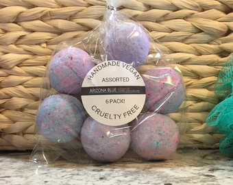 SALE! Bath Bomb Gift Set, Cotton Candy Fragrance, 6 Pack, Pink, Purple, Blue, Coconut Oil Infused, Bath Bombs For Kids,  Vegan Bath Bomb