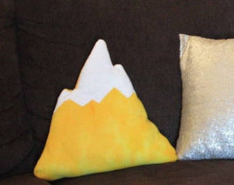 Yellow Colorful Print Mountain Pillow