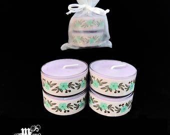 "Scented Tea Lights, Lavender Scent, Mauve and Teal, 1.5""w x .75""h, Soy, Organza Pouch (x3), Wedding, Bride, Tables, Dinner, Candles"