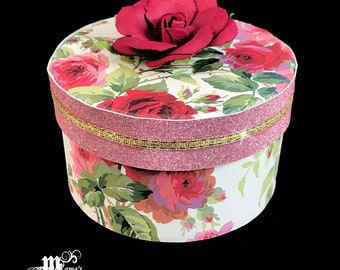 Pink and Red Roses with Pink Glitter Paper Paper Mache Jewelry Box, Pink Roses, Red Roses, Spring Rose Collection, Storage Box, Trinket Box