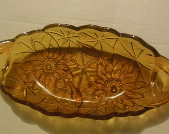 Vintage Lily Pons Amber Glass Relish Tray/Candy DIsh with Flower Design