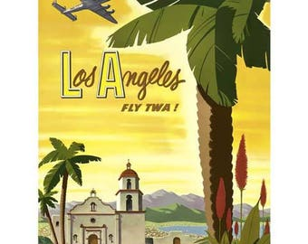 Los Angeles Travel Poster - Vintage TWA Travel Print Art - California Home Decor
