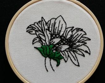 Sunflower Embriodery Hoop blackwork