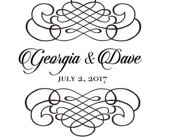 Custom Names Bride and Groom Wedding Logo Gobo Light Projection, Logo, or Sign Design