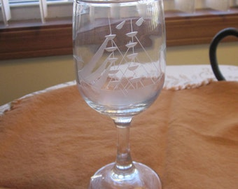 Vintage Nautical Boat Etched Cordial Glass 1950's