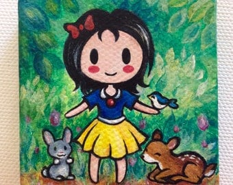 Original Mini Acrylic Canvas - Hand Painted- Snow White