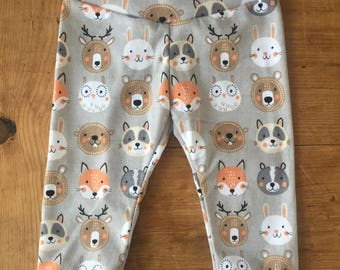 Gray Forest Animals Cotton Knit Leggings
